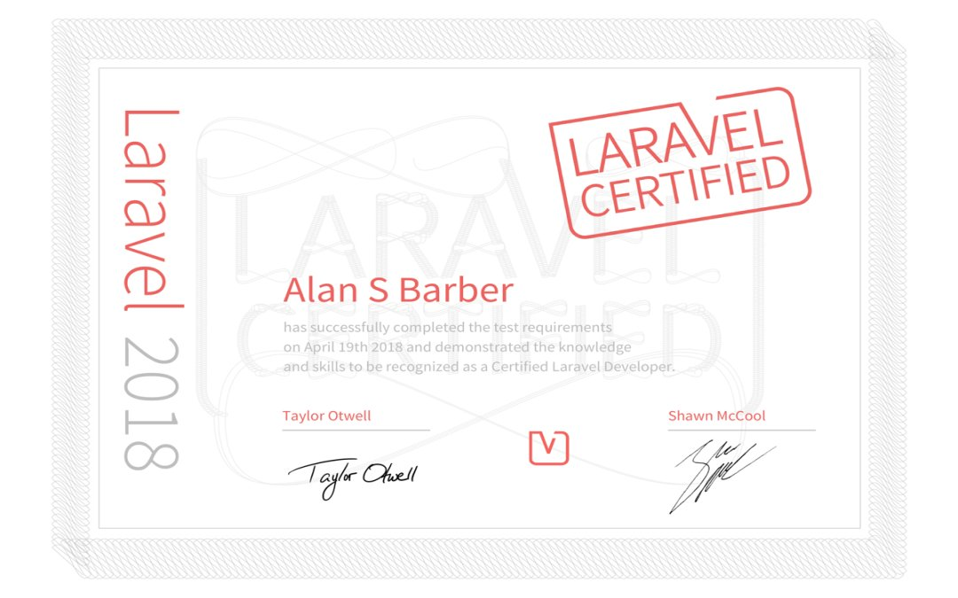 Cadence Labs CEO Alan Barber is Laravel Certified!