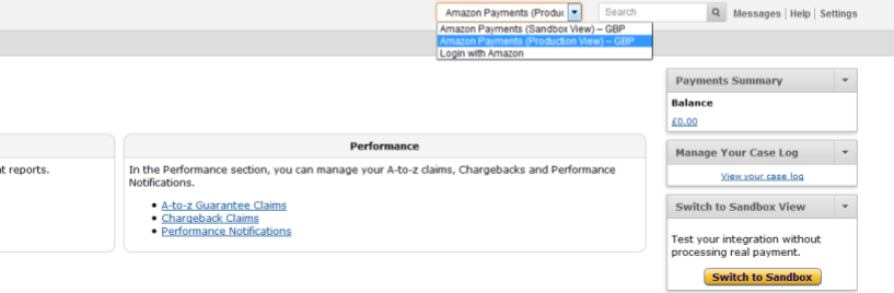 Amazon Pay Sandbox View