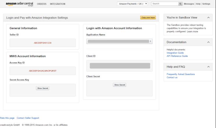 Amazon MWS Access Key