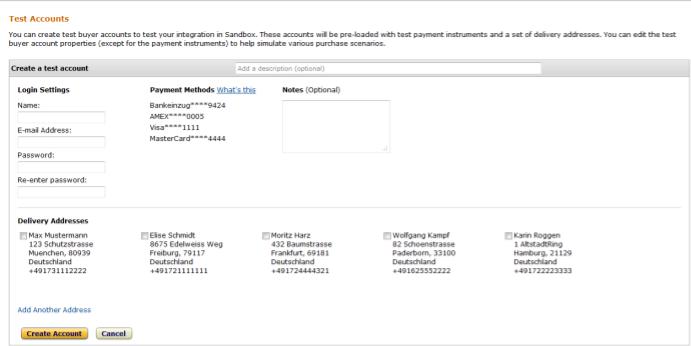 Amazon Test Account Creation